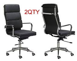 padded high back office chair black vegan leather sold in a