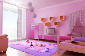 DecorationModern Interior Design Of Girls Bedroom With Canopy Beds Also Pink And White Vanity Tv Open Shelves Curtains Rugs Wall Laminate Floor