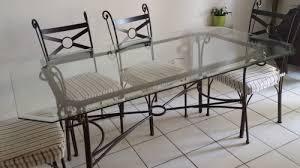 table rectangulaire verre 4 chaises fer forgé gchangetout
