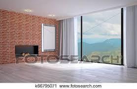 leerer wohnzimmer mit hölzern und mauerstein walls