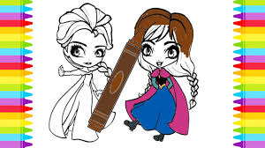 Colouring Disney Frozen Elsa And Anna Coloring Pages For Kids Learning Colors