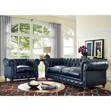 Best Rustic Leather Living Room Furniture Durango Blue Set Free Shipping Today