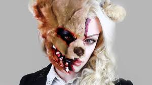 Scary Characters For Halloween by Evil Teddy Bear Halloween Makeup Fx Split Face Youtube