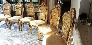 barock design sitzmöbel für esszimmer gold gelb 6 stück
