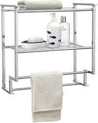 caro möbel handtuchhalter bad wandregal hängeregal duschregal baris 45 cm breit mit 2 ablagen aus verchromtem metall