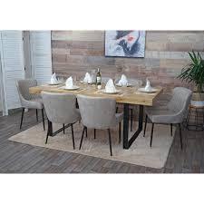 6x esszimmerstuhl hwc h79 küchenstuhl lehnstuhl stuhl vintage metall stoff textil grau