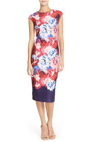 vince camuto floral print stretch midi dress regular u0026 petite