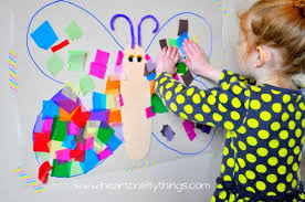 Each Child Is So Different One Might Decide He Only Wants To Put Up A Couple Tissue Paper Squares And His Butterfly Finished Work
