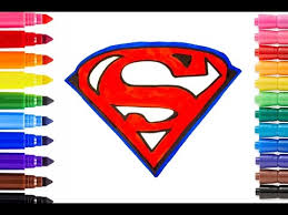 How To Draw And Color Superman Logo Coloring Pages Videos For Kids L Learn Colors With Rainbow