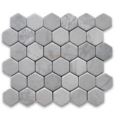 carrara marble tile italian white 2 inch hexagon mosaic