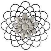 Layered Metal Flower Wall Decor With Colored Center