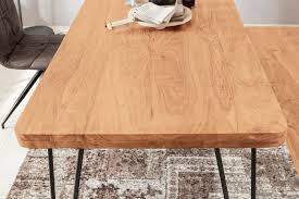 esstisch bagli massivholz akazie 180 x 76 x 80 cm esszimmer tisch küchentisch modern landhaus stil holztisch mit metallbeinen dunkel braun