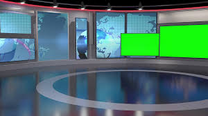 Contemporary Virtual News Studio Green Screen Background