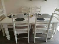Cream Shabby Chic Dining Table And Chair Set
