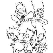 The Simpson Family And Squirrels Scary Simpsons Coloring Page