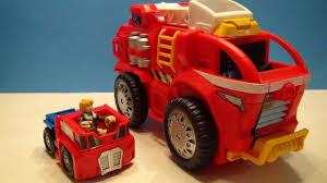 100 Rescue Bots Fire Truck RESCUEBOTS MOBILE HEADQUARTERS TRANSFORMERS PLAYSET WITH OPTIMUS PRIME VIDEO TOY REVIEW