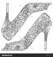 Hippie Shoes Coloring Book Pages Adult Colouring Anti Stress Indian Fashion Zentangle Boho Chic In