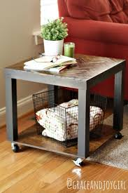 Used Ikea Lack Sofa Table by Lack Side Table Hack Herringbone Top Wheels Canisters Home
