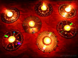 Decorative Diyas Using Wate Cds 8