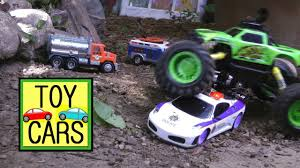 100 Monster Truck Crashes RC POLICE CHASE ACTION Toy Cars CRASH And RESCUE