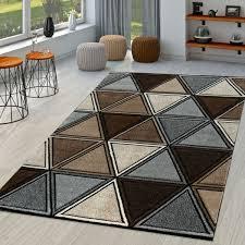 moderner kurzflor teppich meliert geometrisches design grau