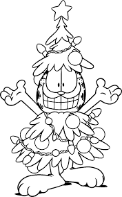 Garfield Christmas Tree Costume Coloring Pages For Kids Printable