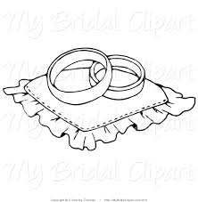 Bridal Clipart of a Coloring Page of Two Wedding Bands Resting on a Ring Pillow