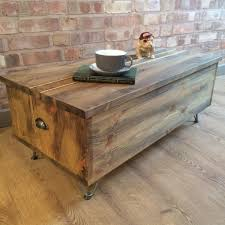 Rustic Industrial Reclaimed Wood Style Trunk Pine Blanket Toy Box Coffee Table Metal Hairpin Legs