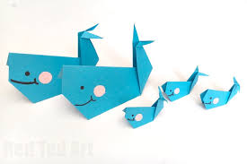 Easy Origami Whale Paper Crafts For Kids Red Ted Arts Blog