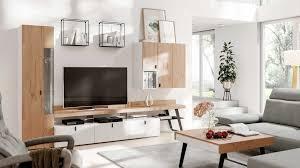 interliving wohnzimmer serie 2105 wohnwand in1 weißer lack balkeneiche anthrazitfarbenes metall vierteilig breite