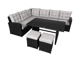 garten lounge la palma schwarz sitzecke mit esstisch loungesofa sofa gartenlounge wetterfester spezial kunststoff salzwasserbeständig tisch in