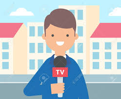 TV Reporter Journalist Vector Illustration Live News Stock