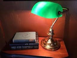 Antique Bankers Lamp Green by Vintage Bankers Lamp Green Glass Emerald Shade Brass Base Piano