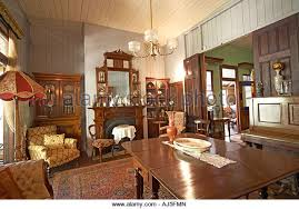 Dining Room Interior Of Old Colonial Style Queenslander Wooden House Building With Gardens In Dakabin Queensland