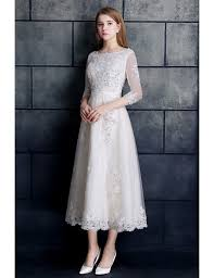GRACE LOVE Vintage Tea Length Lace Tulle A Line White Wedding Dress 3 4 Sleeve