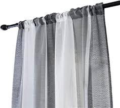vosarea gestreifte gardinen für badezimmer schlafzimmer 100 x 200cm grau weiß