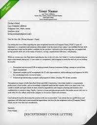 Receptionist Cover Letter Example