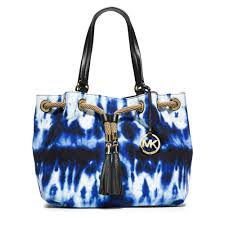 michael kors marina large tie dye canvas tote in blue lyst