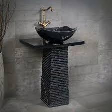 badezimmer schwarzes quadrat rundes granit waschbecken mit stehendem naturstein sockel becken buy fels granit waschbecken bad naturstein