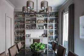 Dining Room Bar For Gray With Full Wall Of Built In Glass Front Cabinets Design 4