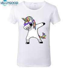 New Summer Fashion Funny Dabbing Unicorn T Shirts Women Hip Hop Panda Pug Cat Printed Tees