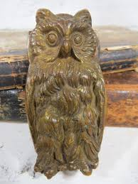 Vintage Brass OWL Door Knocker Small Rustic Owl Highly Detailed