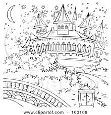 Royalty Free RF Clipart Illustration Of A Coloring Page Outline Magical Cinderella Castle By Alex Bannykh