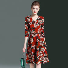 H Trendy Women Autumn Printed A Line Dress 2017 Europe Brand Quality Casual