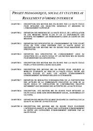 reglement interieur auto ecole projet pédagogique social et culturel et reglement d ordre intérieur