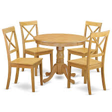 ANBO5-OAK-W 5 Pc Kitchen Table Set With A Dining Table And 4 Wood Seat  Chairs In Oak