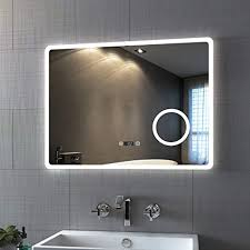 bath mann led badspiegel 80x60cm mit beleuchtung kaltweiß badezimmerspiegel spiegel mit touch lichtschalter 3x vergrößerung schminkspiegel