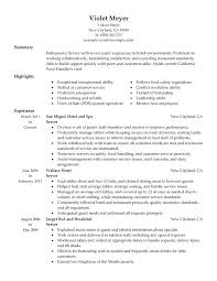 Experienced Server Resume Examples As Well Sample For Prepare Perfect Objective