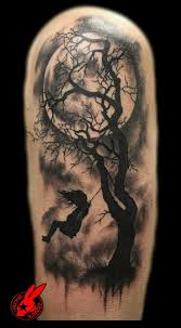 Other Photos To Half Sleeve Gothic Girl Tree And Moon Tattoos