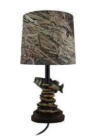 Large Punched Tin Lamp Shades by Mossy Oak Fish Accent Lamp Dark Woodtone Camo Shade Table Lamps